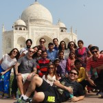 Alunos no Taj Mahal