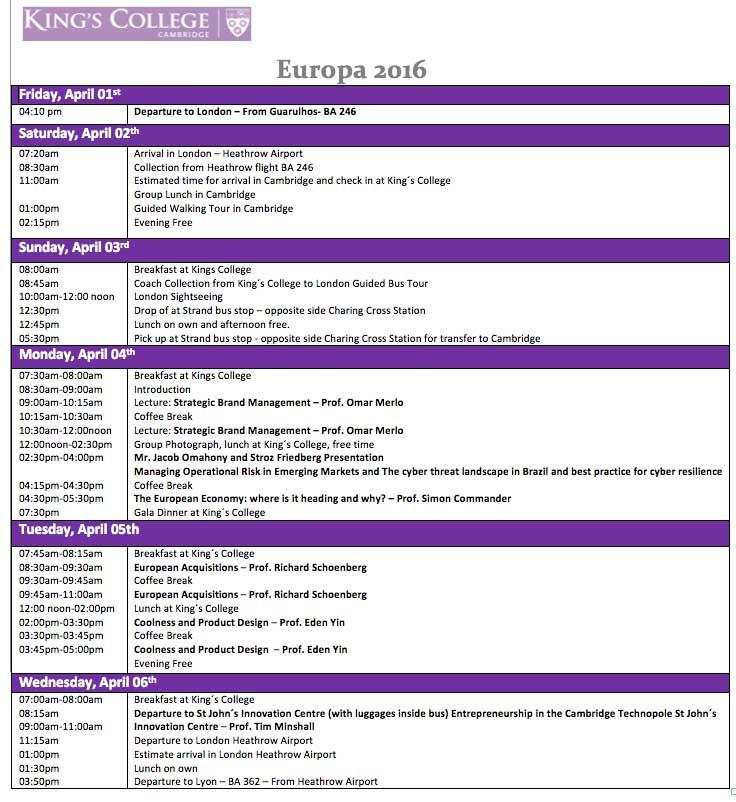 Programação Europa King's College